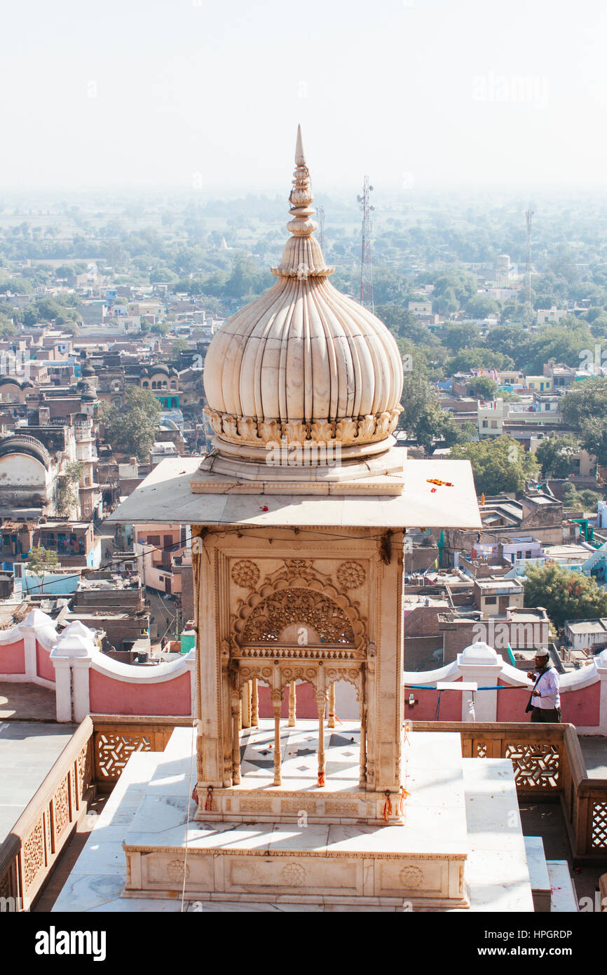 Hill top temple detail, Varsana India. Stock Photo
