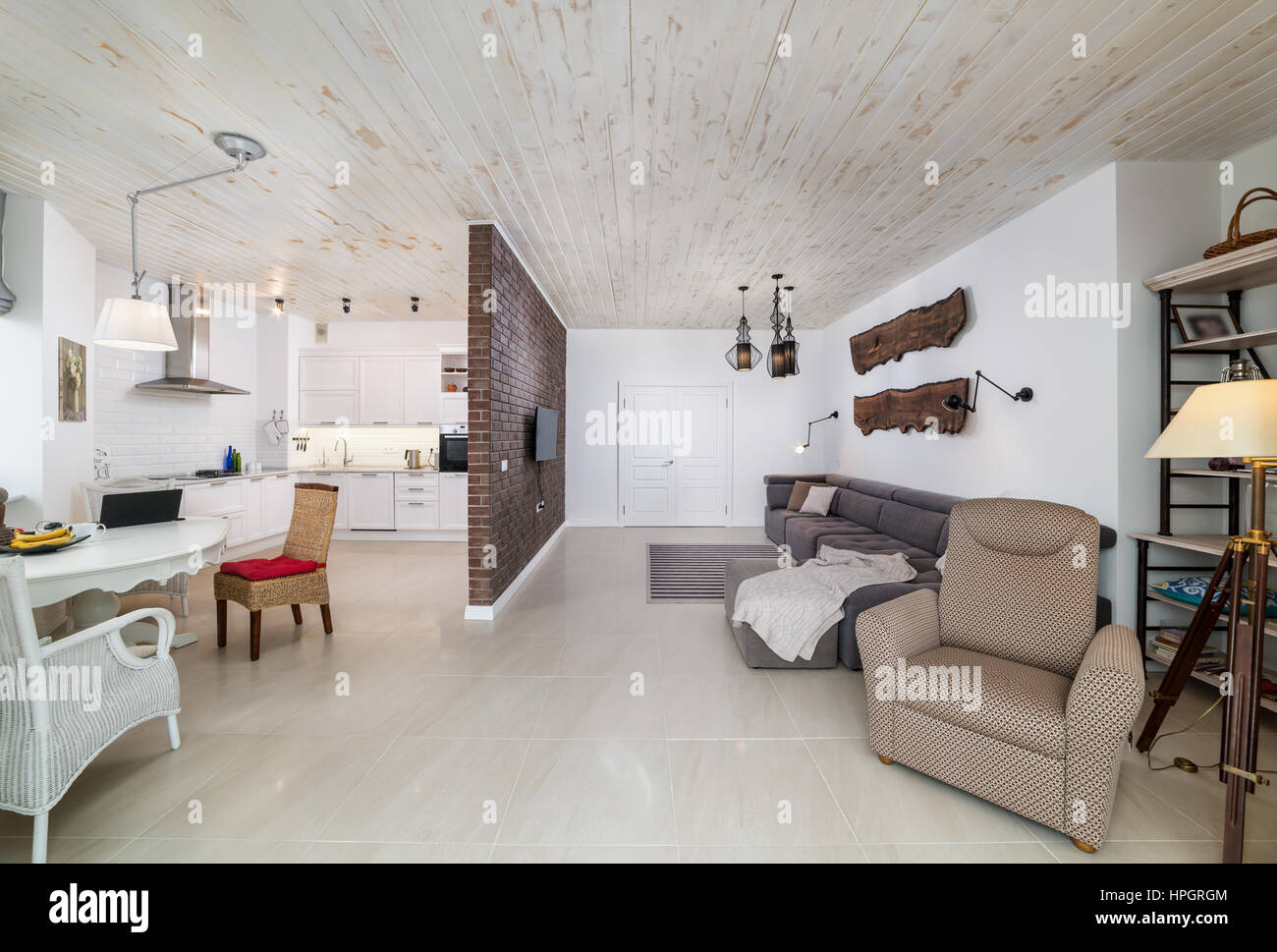 Beautiful large living room interior stock image
