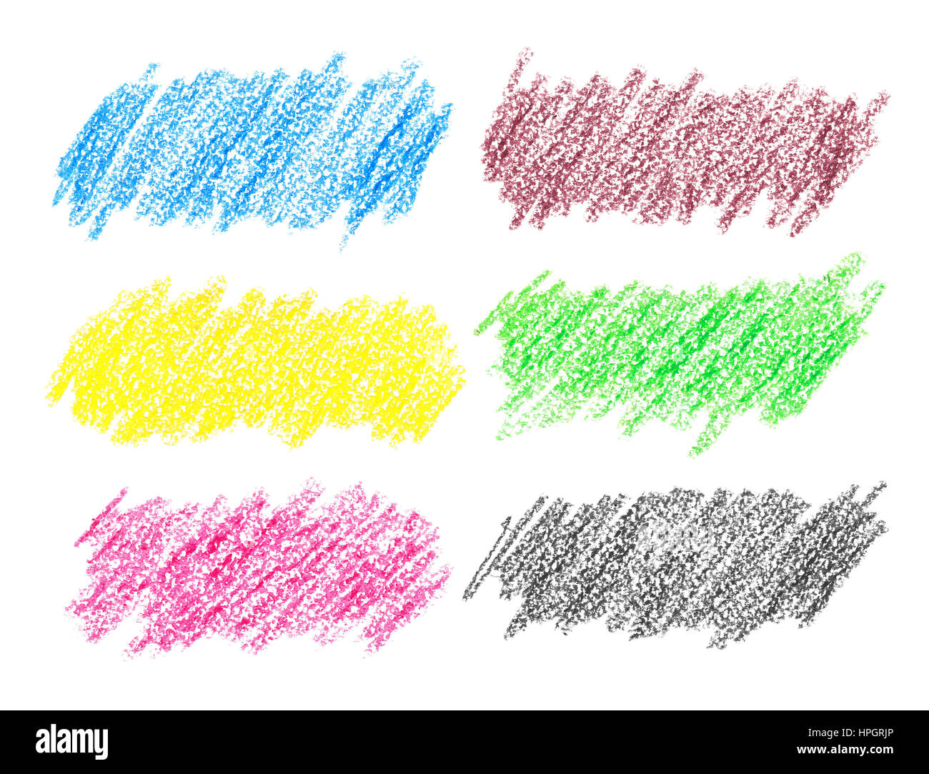 Set of colorful crayon strokes isolated over the white background Stock Photo