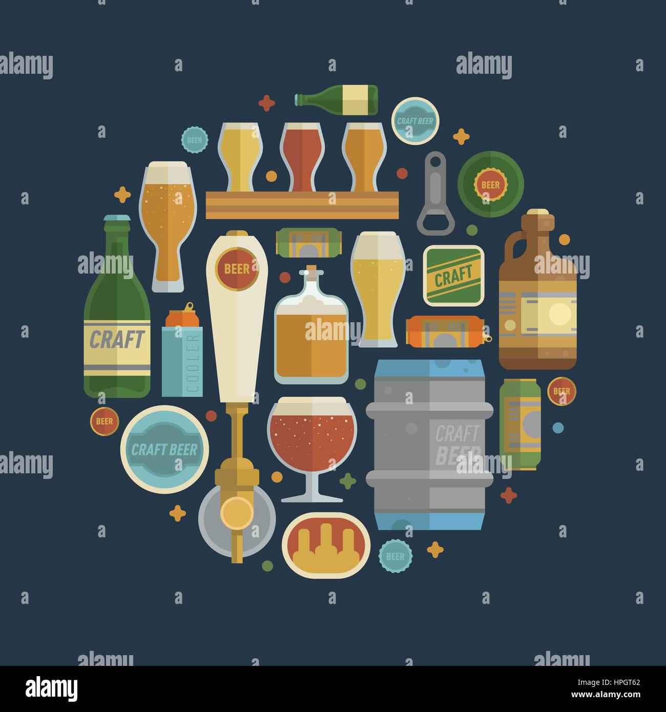 Craft beer items creative set in circle. Differens beer elements include bottles, glasses, keg, can and bottle opener Stock Vector