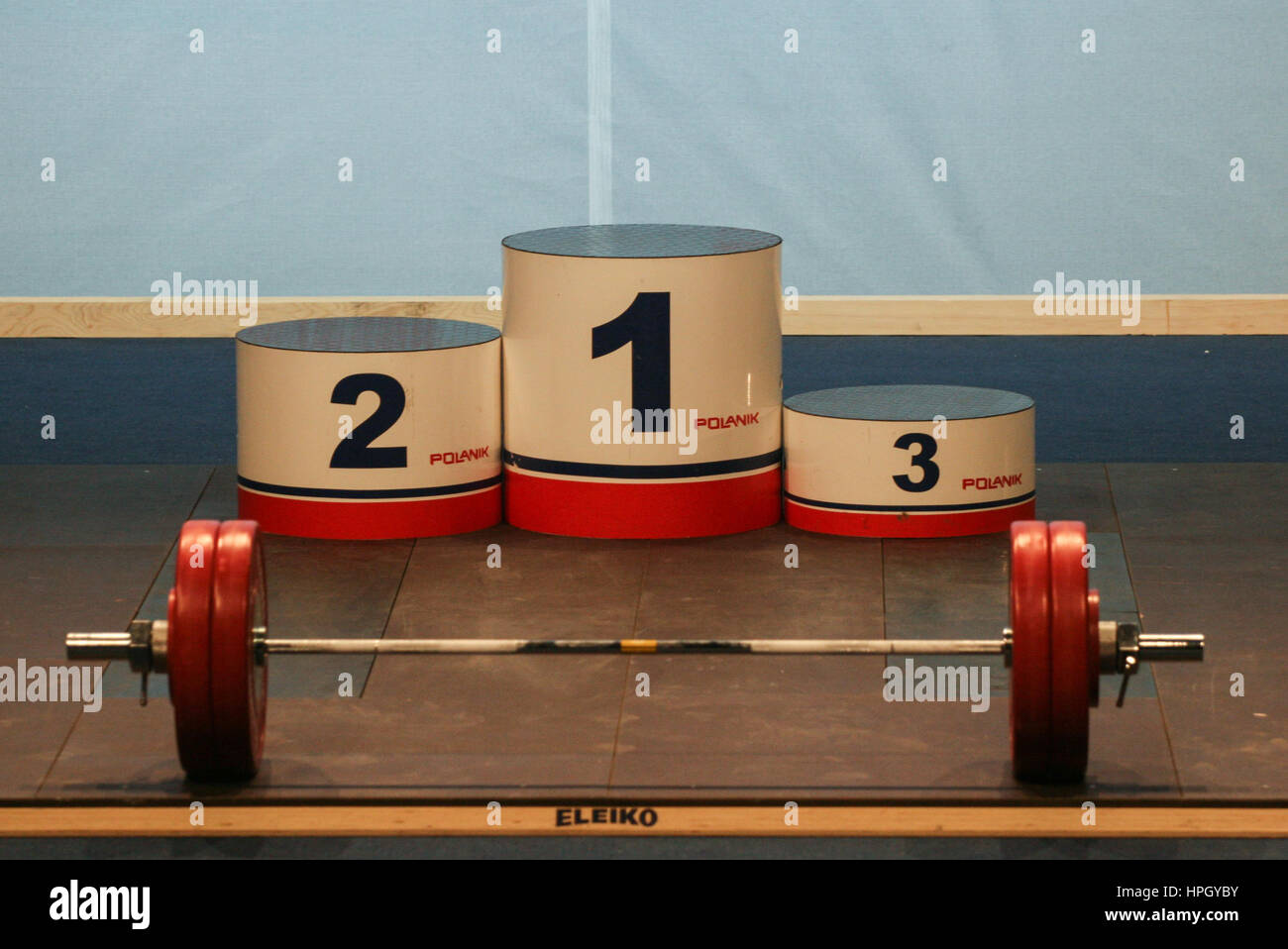 Bucharest, Romania, April 5, 2009: Winner podium in European Weightlifting Competition. - Stock Image