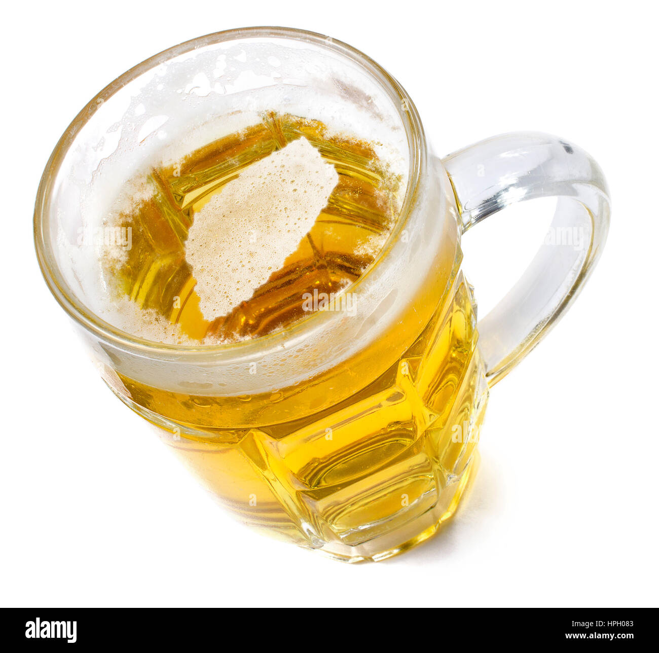 Beer head  in the shaped of Swaziland and a beer.(series) Stock Photo