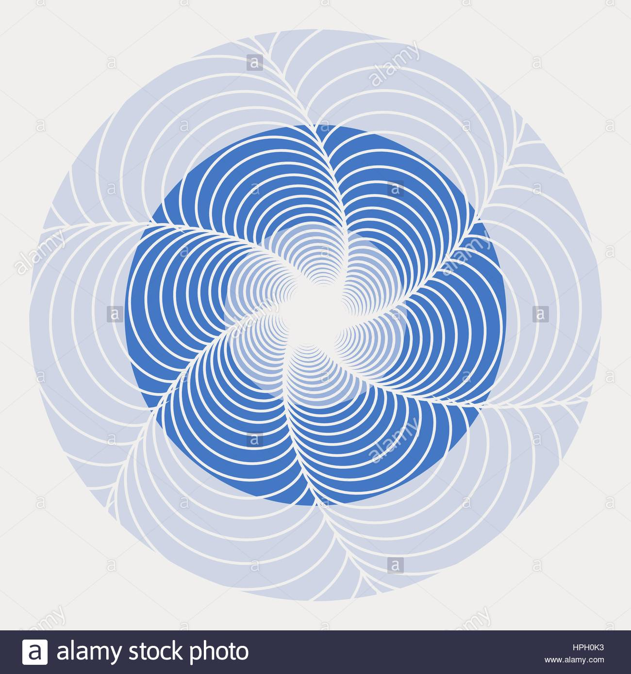 A graphic whirling flower in blue shades - Stock Vector