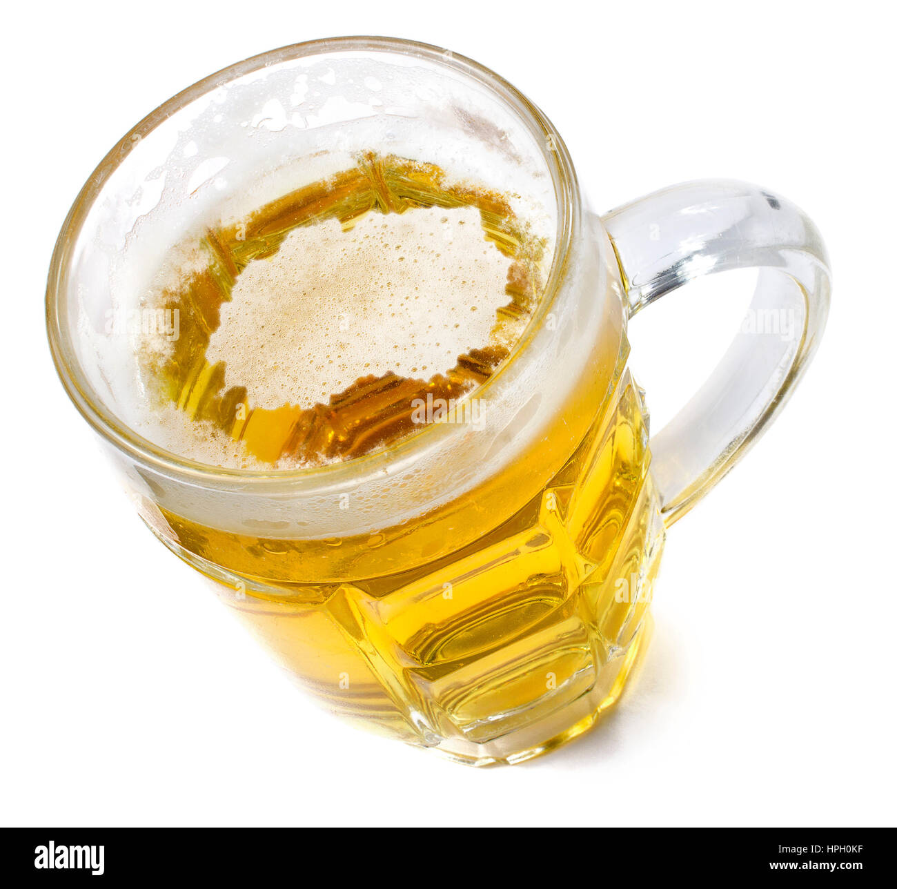 Beer head  in the shaped of Macedonia and a beer.(series) - Stock Image