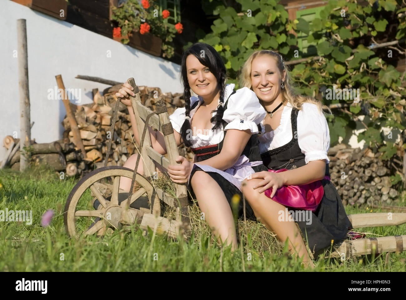 model released zwei junge frauen im dirndl mit schubkarre women stock photo 134368783 alamy. Black Bedroom Furniture Sets. Home Design Ideas