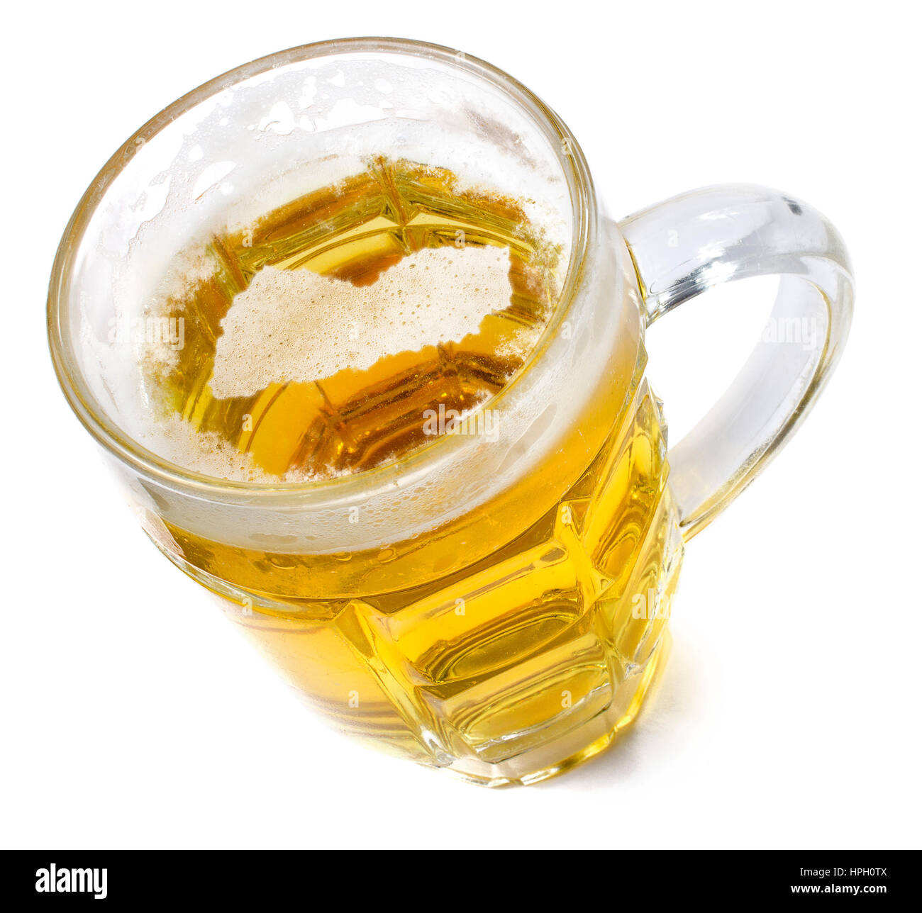 Beer head  in the shaped of Yemen and a beer.(series) - Stock Image