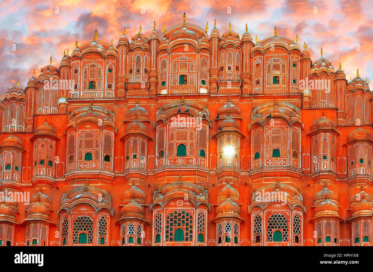 Hawa Mahal - palace complex of the Maharaja of Jaipur, India - Stock Image