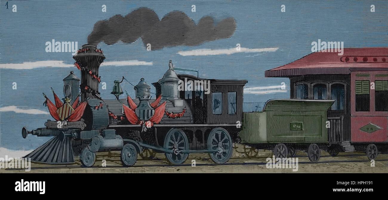 Railway Valls-Vilanova-Barcelona. Inauguration of the first section Vilanova-Barcelona in 1882. Guma Locomotive. - Stock Image