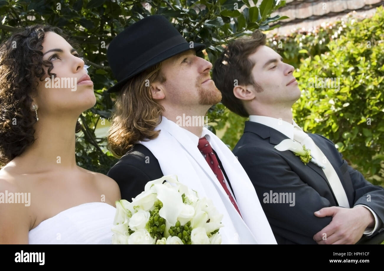 Model released , Brautpaar mit Trauzeugen - bridal couple with groomsman Stock Photo