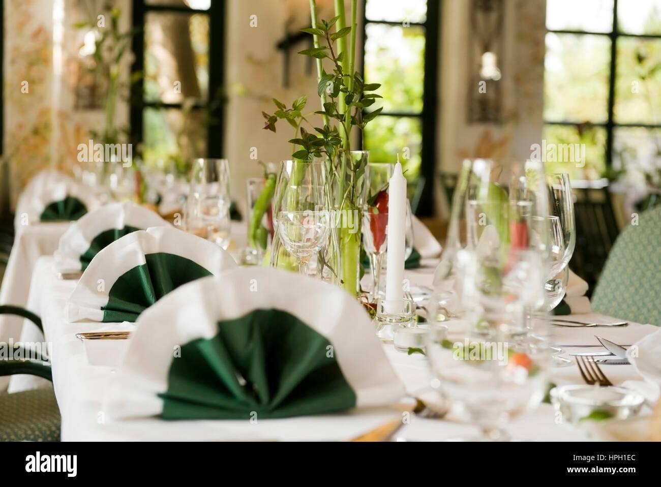 Tischdekoration Hochzeitstafel Table Decoration Stock Photo
