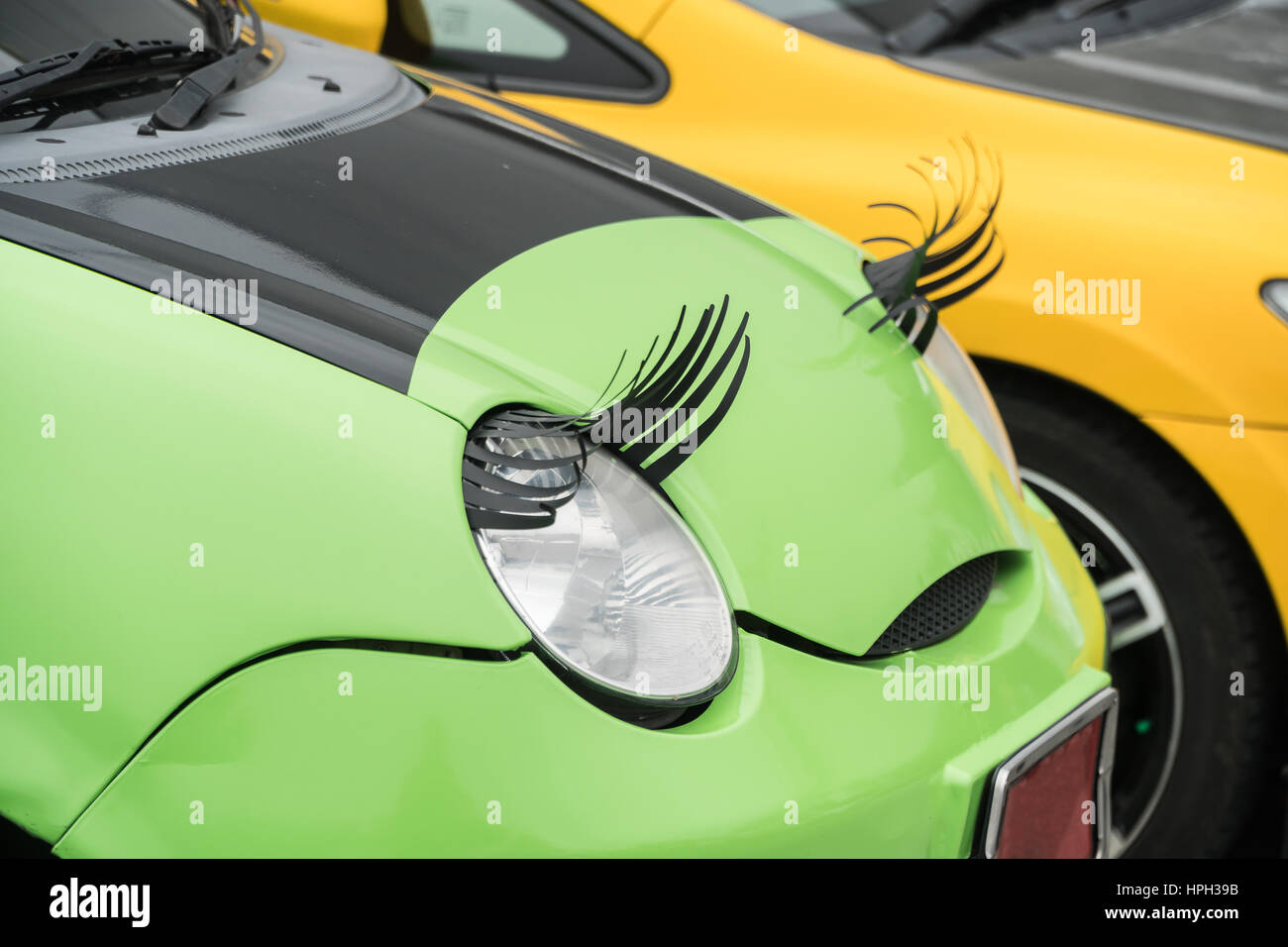 Eyelashes On Car Headlight Stock Photos Eyelashes On Car Headlight