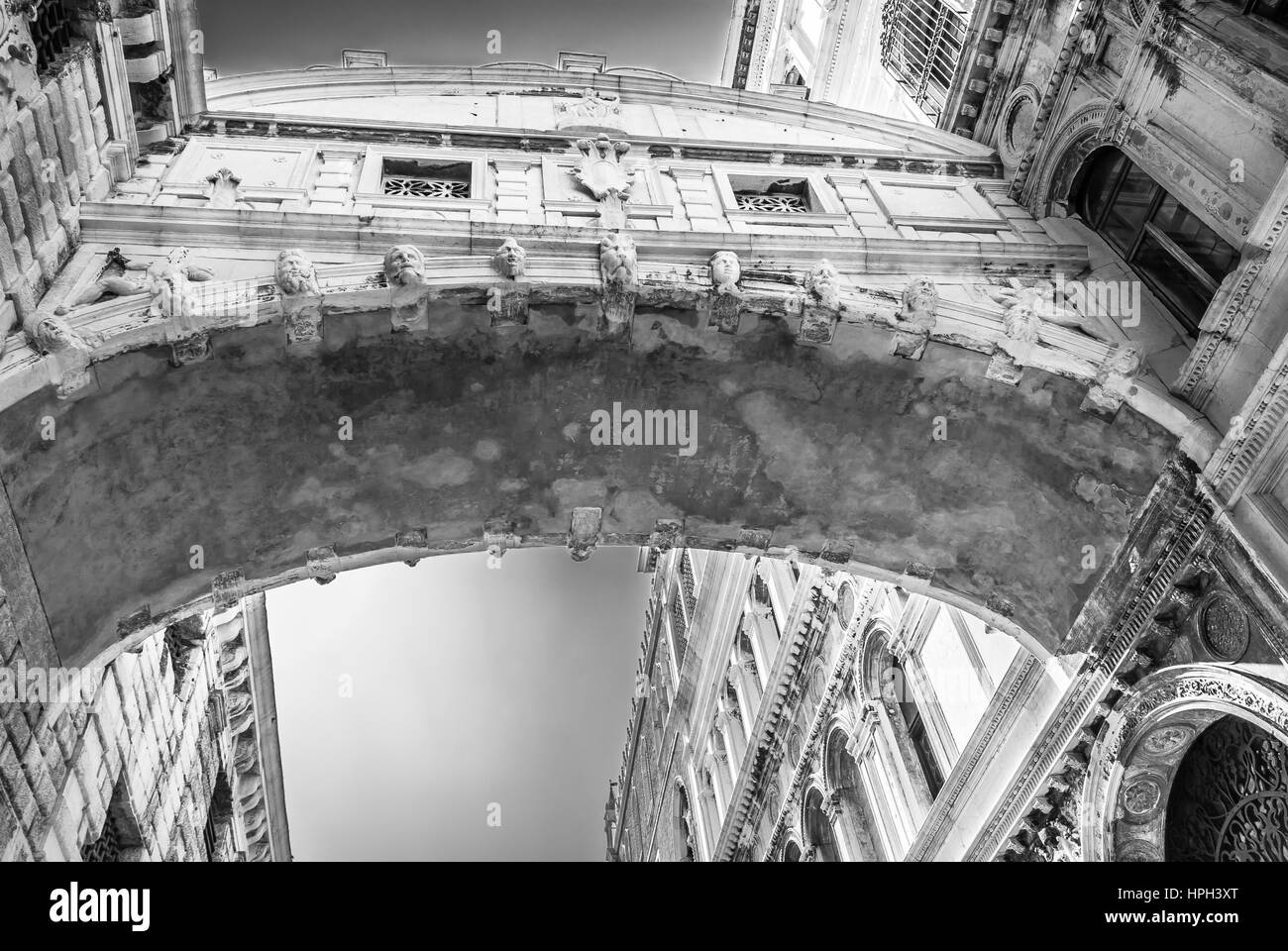 Famous Bridge of Sighs in Venice city, Italy. - Stock Image
