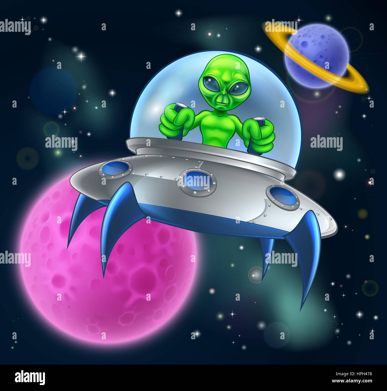 Cartoon alien spaceship or flying saucer in space scene for Flying spaces