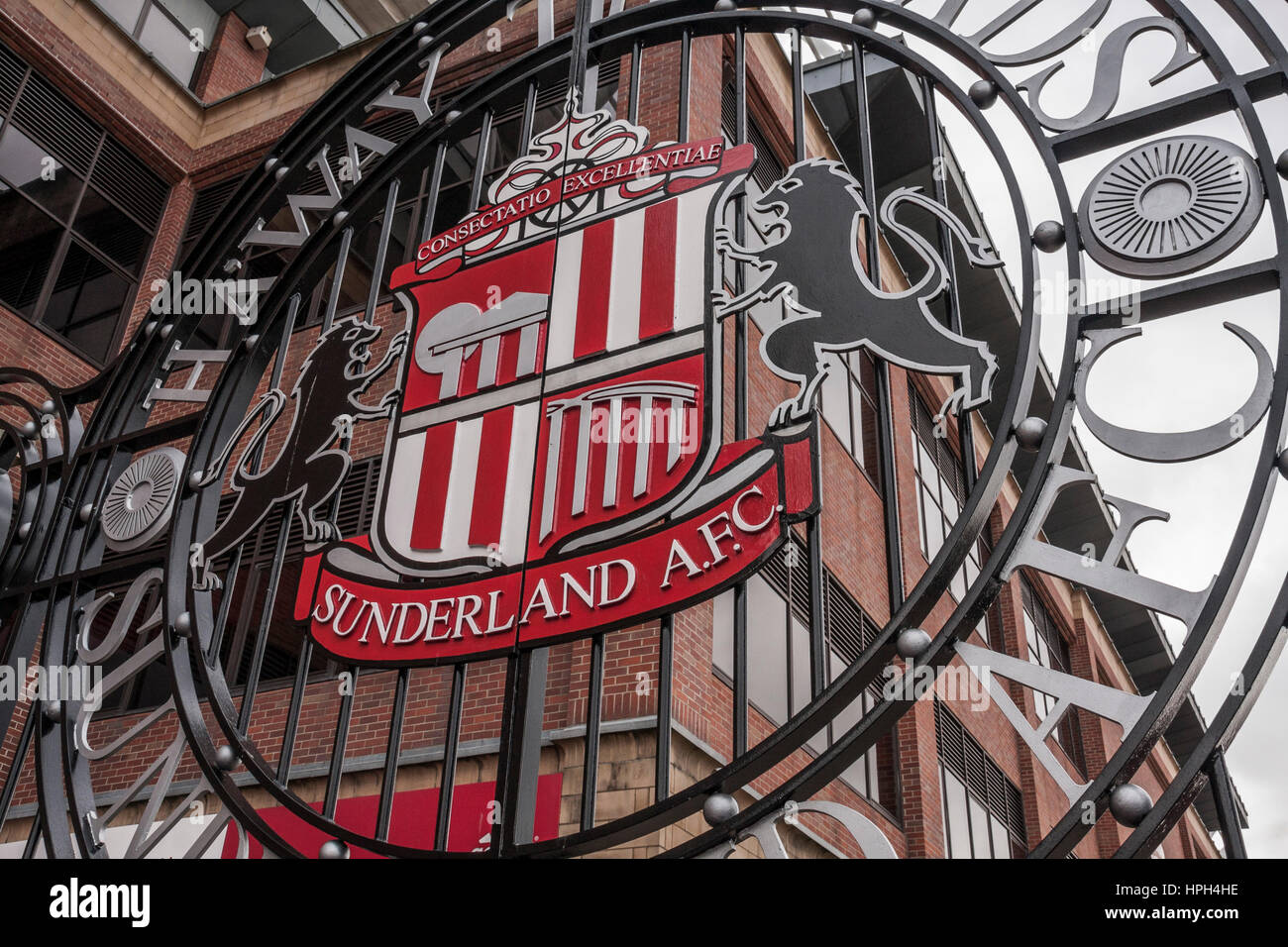 A close up of the stadium gates and crest at the Stadium of Light, Sunderland, England,UK - Stock Image