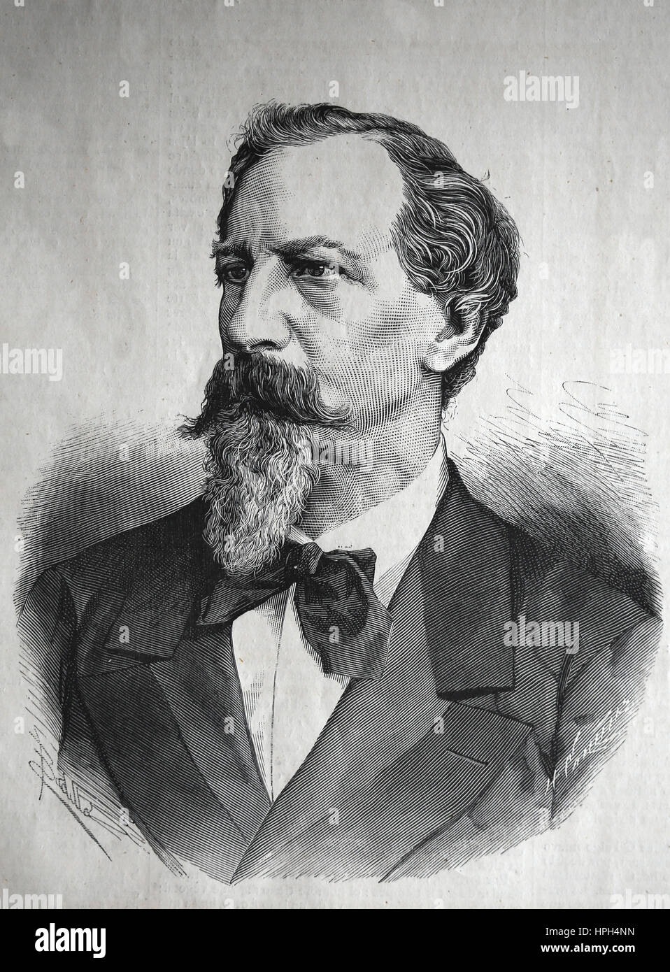 Ferdinand II of Portugal (1816-1885). Portrait. Engraving, 1882. The Spanish and American Illustration, 1882. Spain. - Stock Image