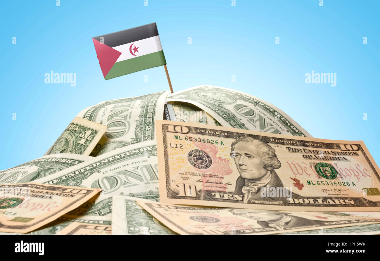The national flag of Western Sahara sticking in a pile of american dollars.(series) - Stock Image