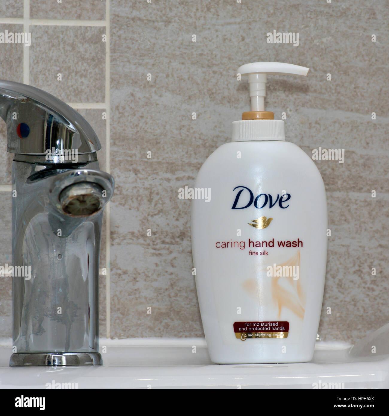 Plastic Bottle Of Dove Hand Wash - Stock Image