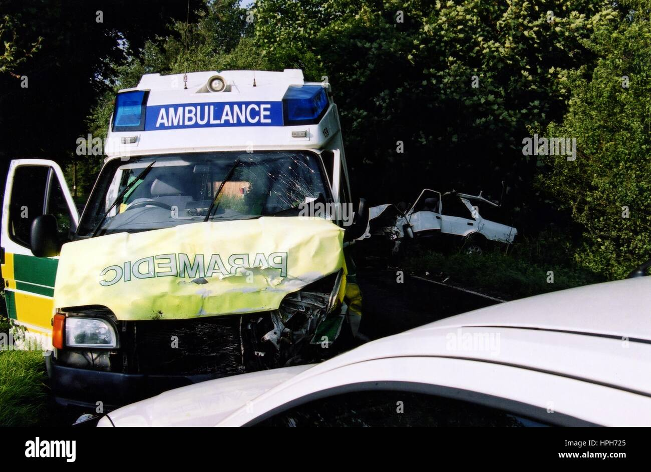 Ambulance involved in Head on Crash on the B183 Stock Photo