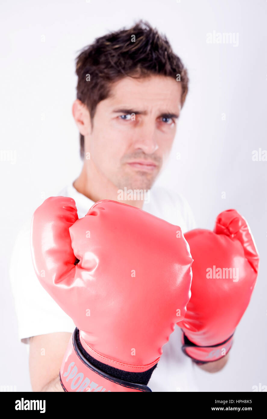 Mann mit Boxhandschuhen - man with boxing gloves, Model released Stock Photo