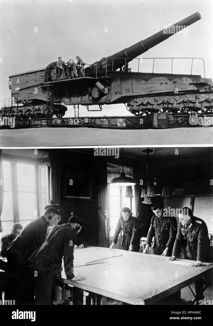The Nazi propaganda image shows a heavy railway gun (above) and the command centre of a railway battery (below), - Stock Image