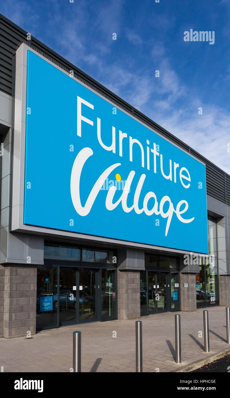 Furniture Village store exterior, at Roaring Meg retails park, Stevenage - Stock Image
