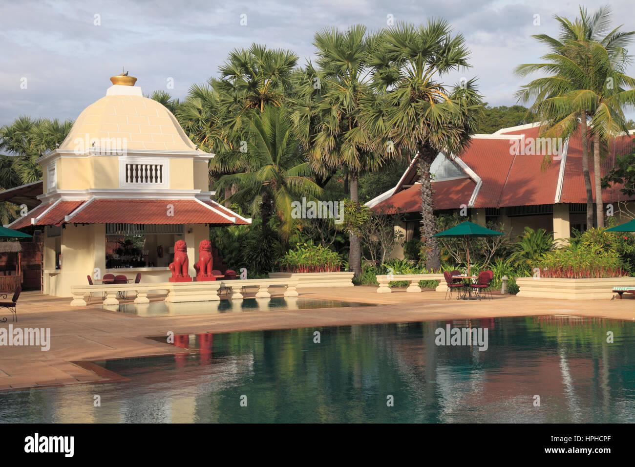 Cambodia, Siem Reap, Raffles Grand Hotel d\'Angkor, pool, garden ...