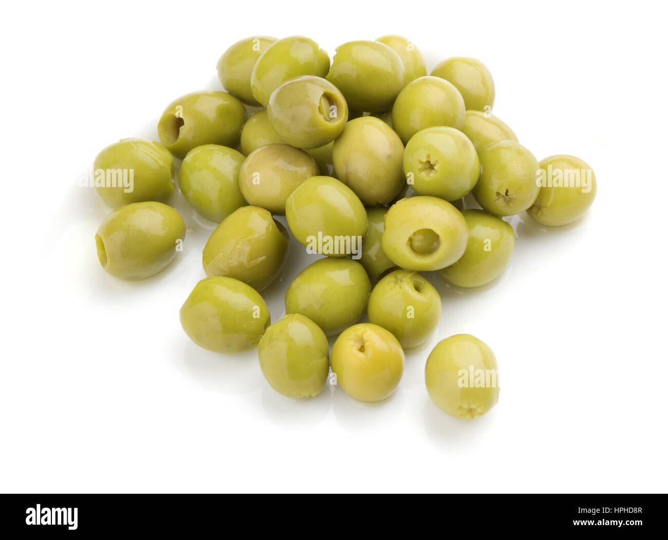 olives isolated over white - Stock Image