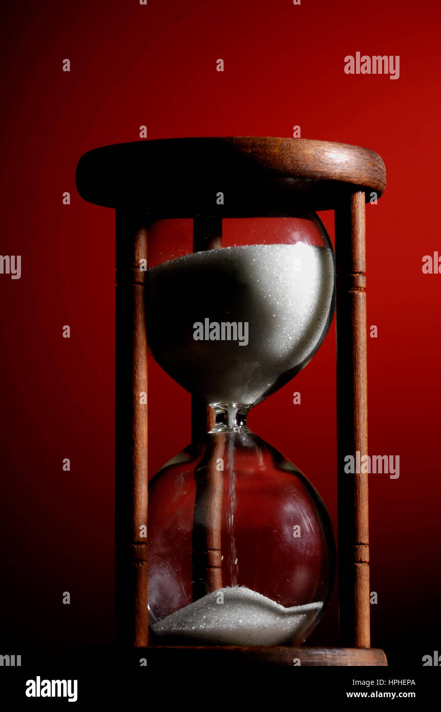 classic wooden hourglass - Stock Image