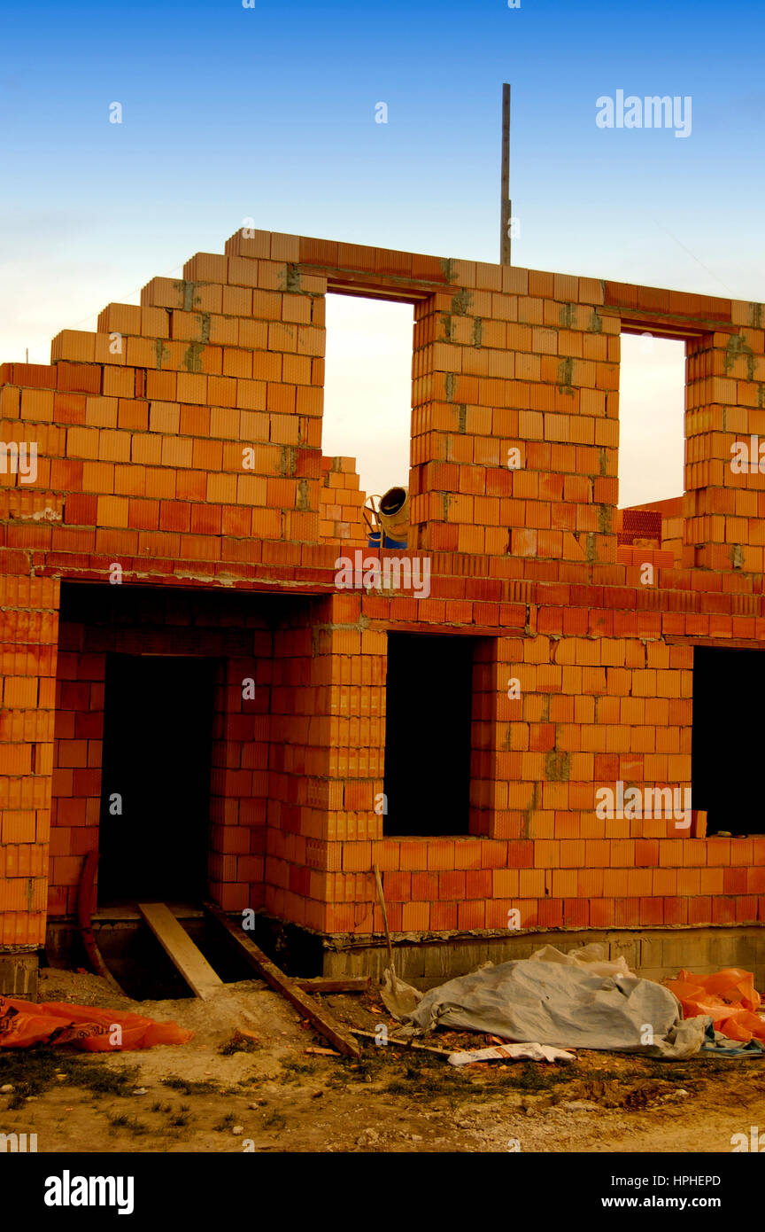 Stages of building houses from bricks 48