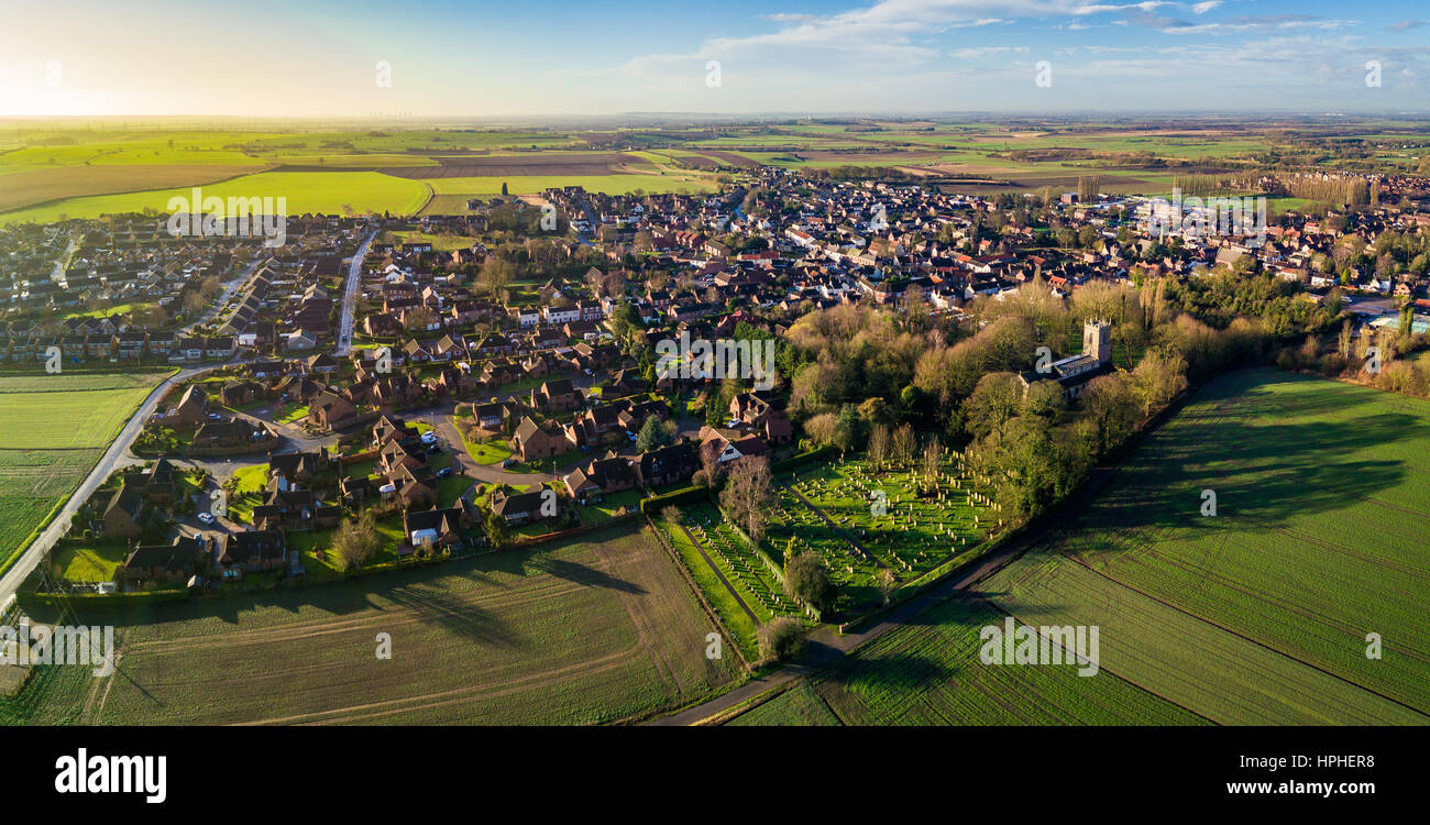 An Aerial Sunrise View of Epworth, North Lincolnshire. - Stock Image