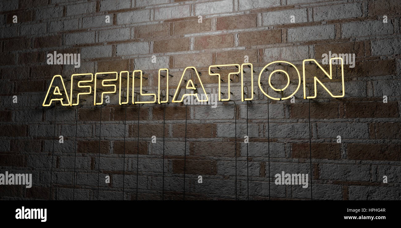 AFFILIATION - Glowing Neon Sign on stonework wall - 3D rendered royalty free stock illustration.  Can be used for - Stock Image