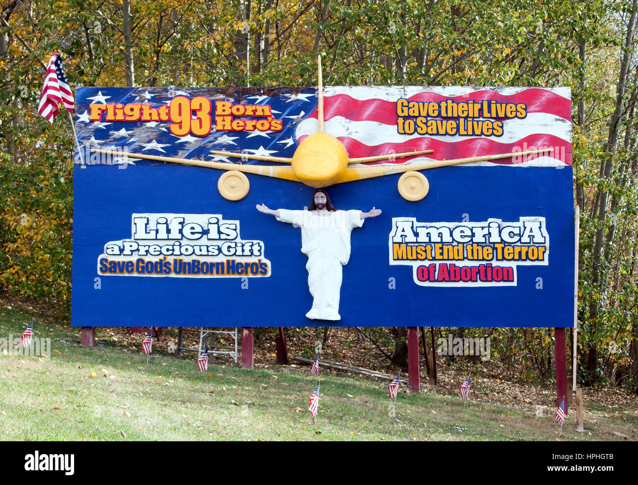 Flight 93 Abortion Billboard in Stoystown, Pennsylvania - Stock Image