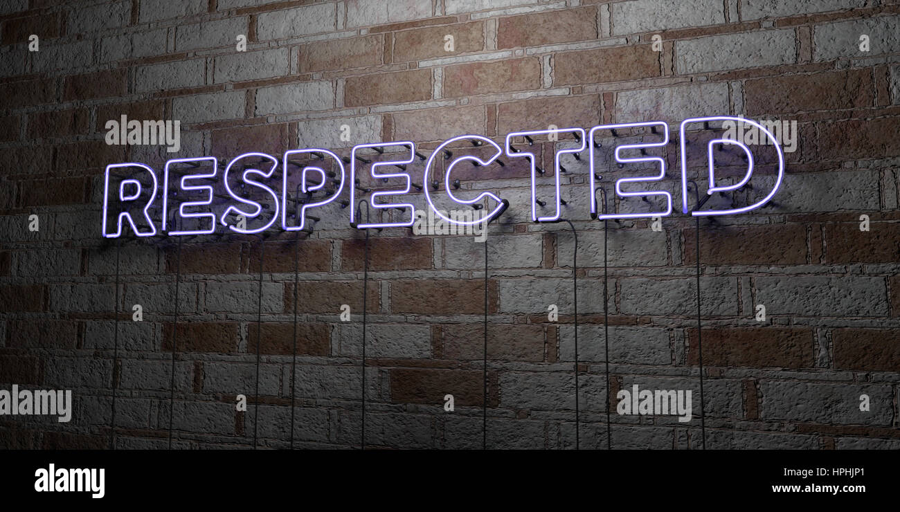 RESPECTED - Glowing Neon Sign on stonework wall - 3D rendered royalty free stock illustration.  Can be used for - Stock Image