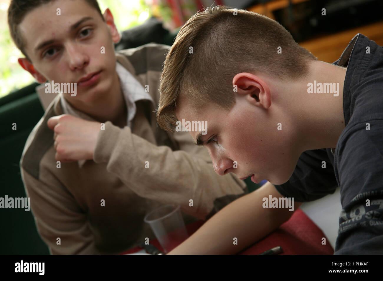 Two teenage boys - Stock Image
