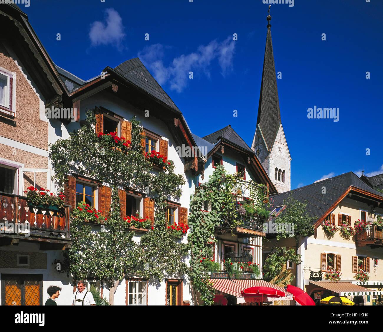 Market Square, Hallstatt, Tirol, Austria - Stock Image