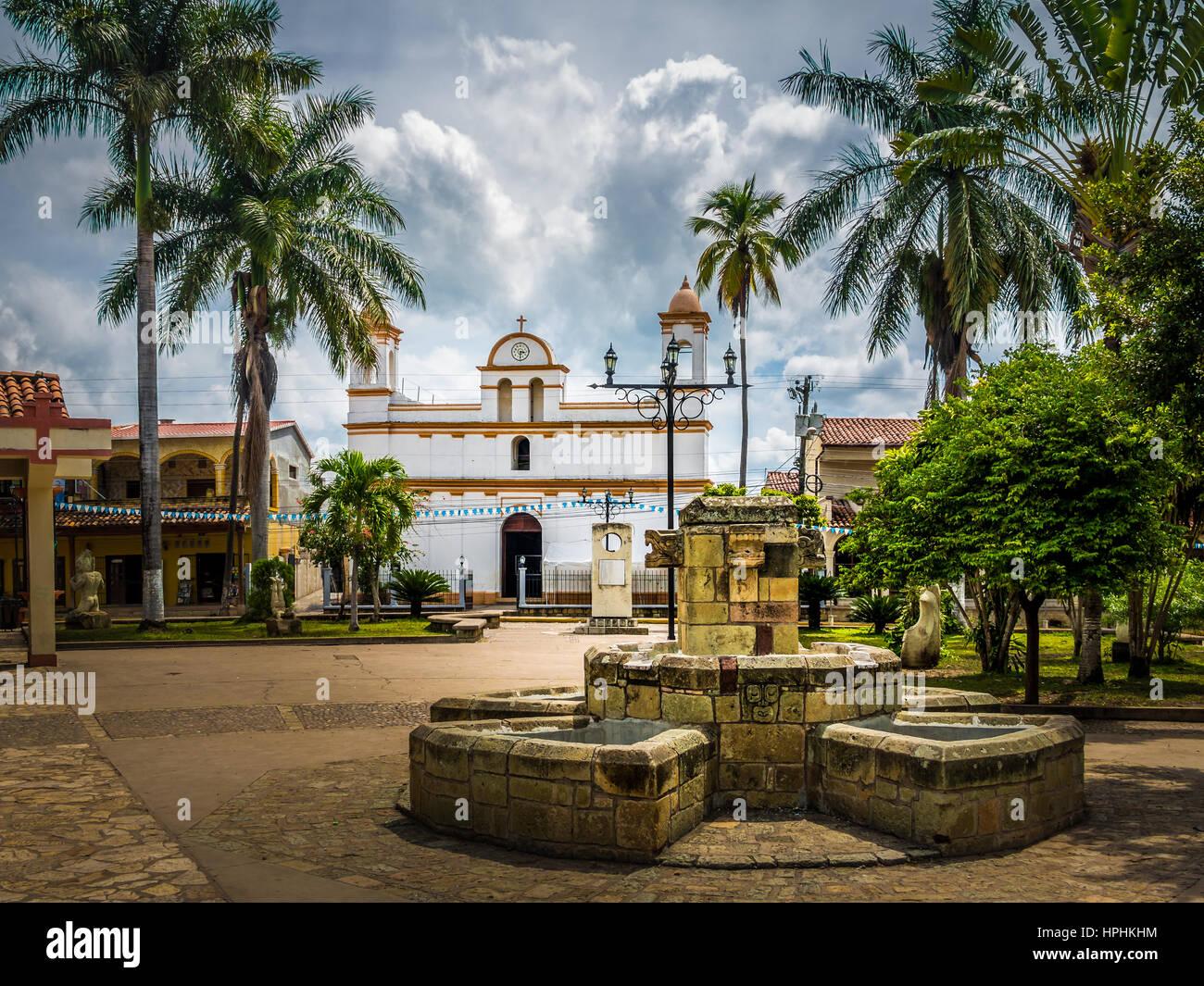 Main square of Copan Ruinas City, Honduras - Stock Image