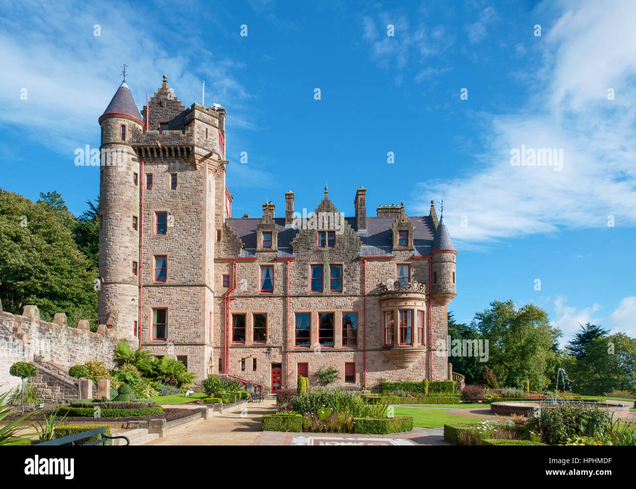 Belfast castle. Tourist attraction on the slopes of Cavehill Country Park in Belfast, Northern Ireland - Stock Image