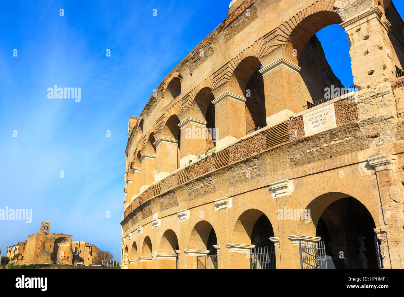 View from the newly repaired and renovated side of The Colosseum towards Palatine Hill, ome, Italy - Stock Image