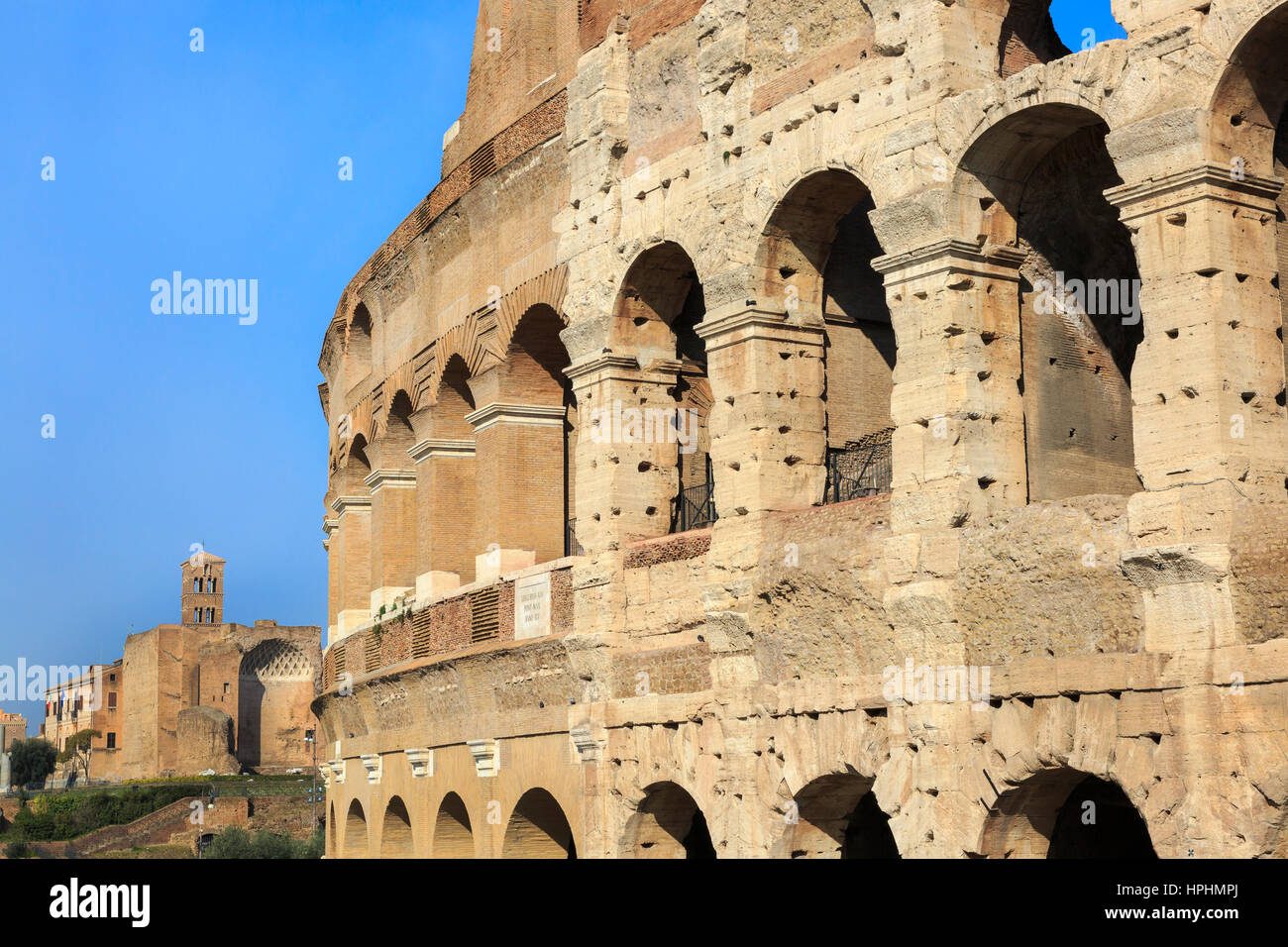 View from the newly repaired and renovated side of The Colosseum towards Palatine Hill,Rome, Italy - Stock Image