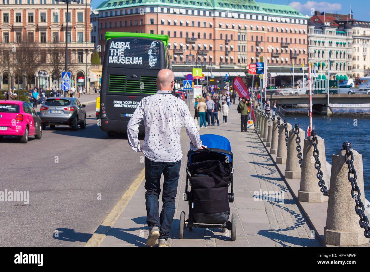 View of Stockholm city, summertime. - Stock Image