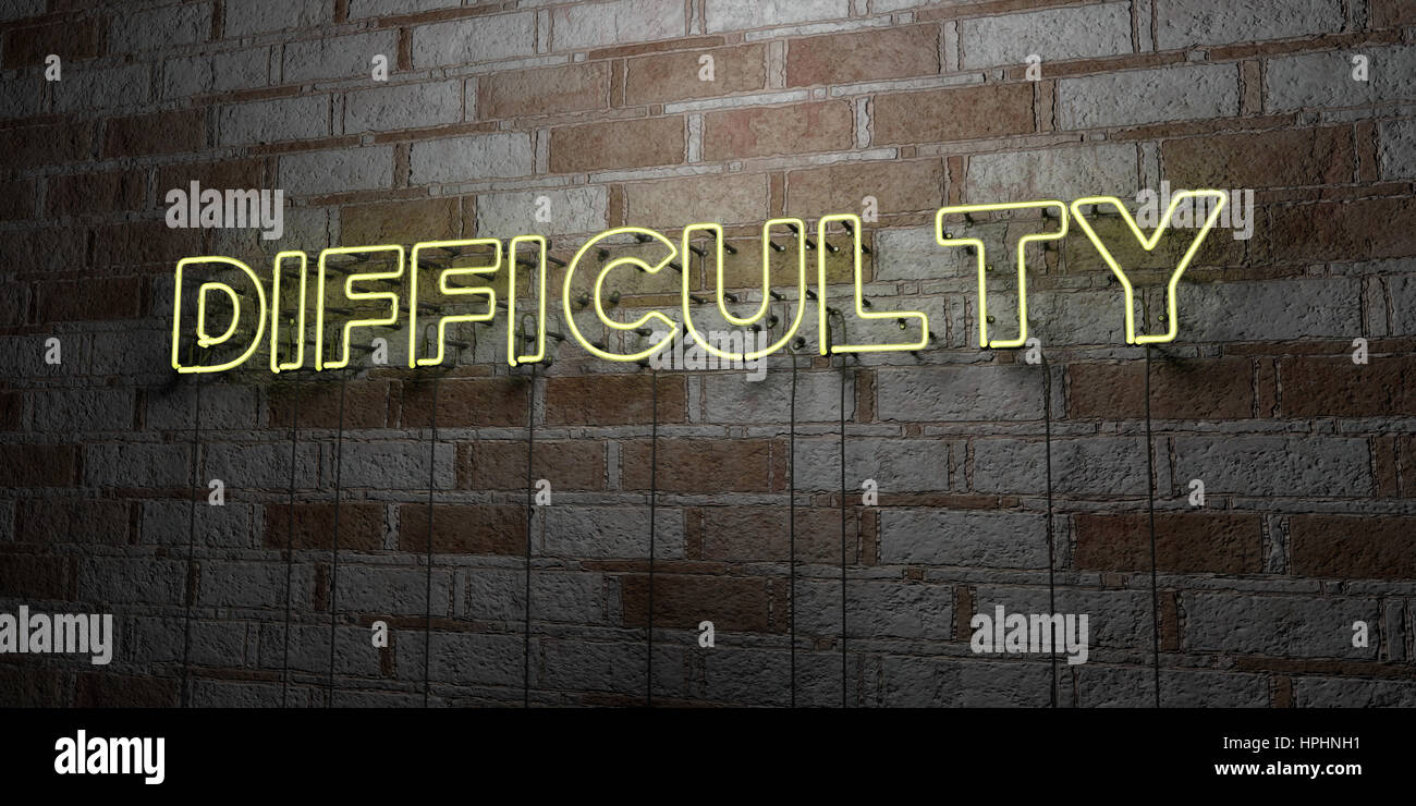 DIFFICULTY - Glowing Neon Sign on stonework wall - 3D rendered royalty free stock illustration.  Can be used for - Stock Image