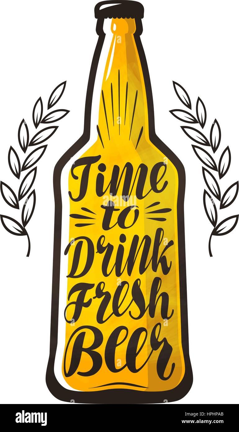 Bottle Of Beer Drink Brewery Label Lettering Calligraphy Vector Illustration Design
