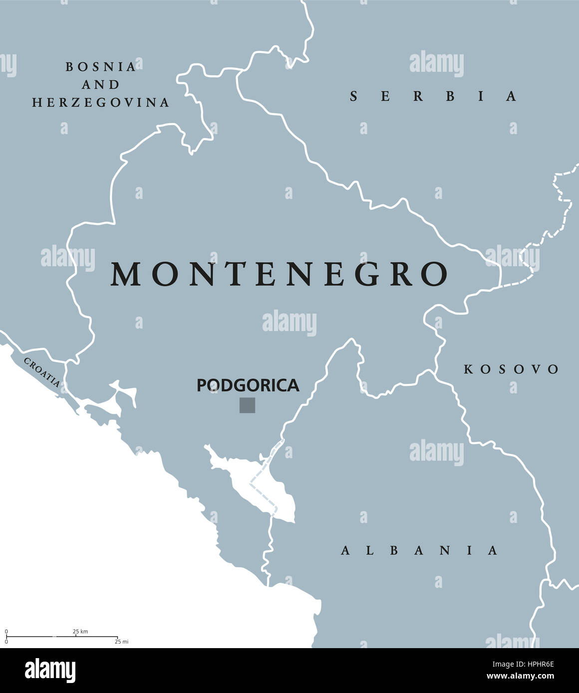 Montenegro Political Map With Capital Podgorica And Neighbor Stock