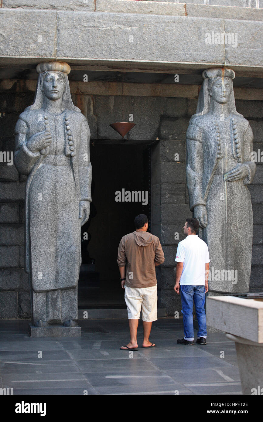 Montenegro,  Lovcen National Park, Statues (communist style) at the entrance of the mausoleum of Petar II in the Stock Photo