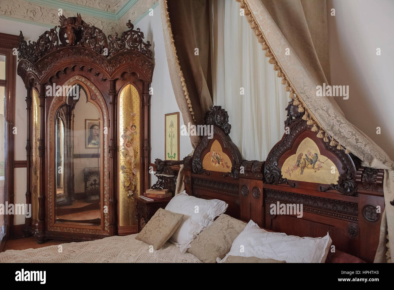 furniture in mexico. Mexico, Chihuahua State, Chuihuahua, Gameros Villa, Quinta Gameros, Interior, Art Nouveau Furniture, Parents Bedroom Furniture In Mexico E