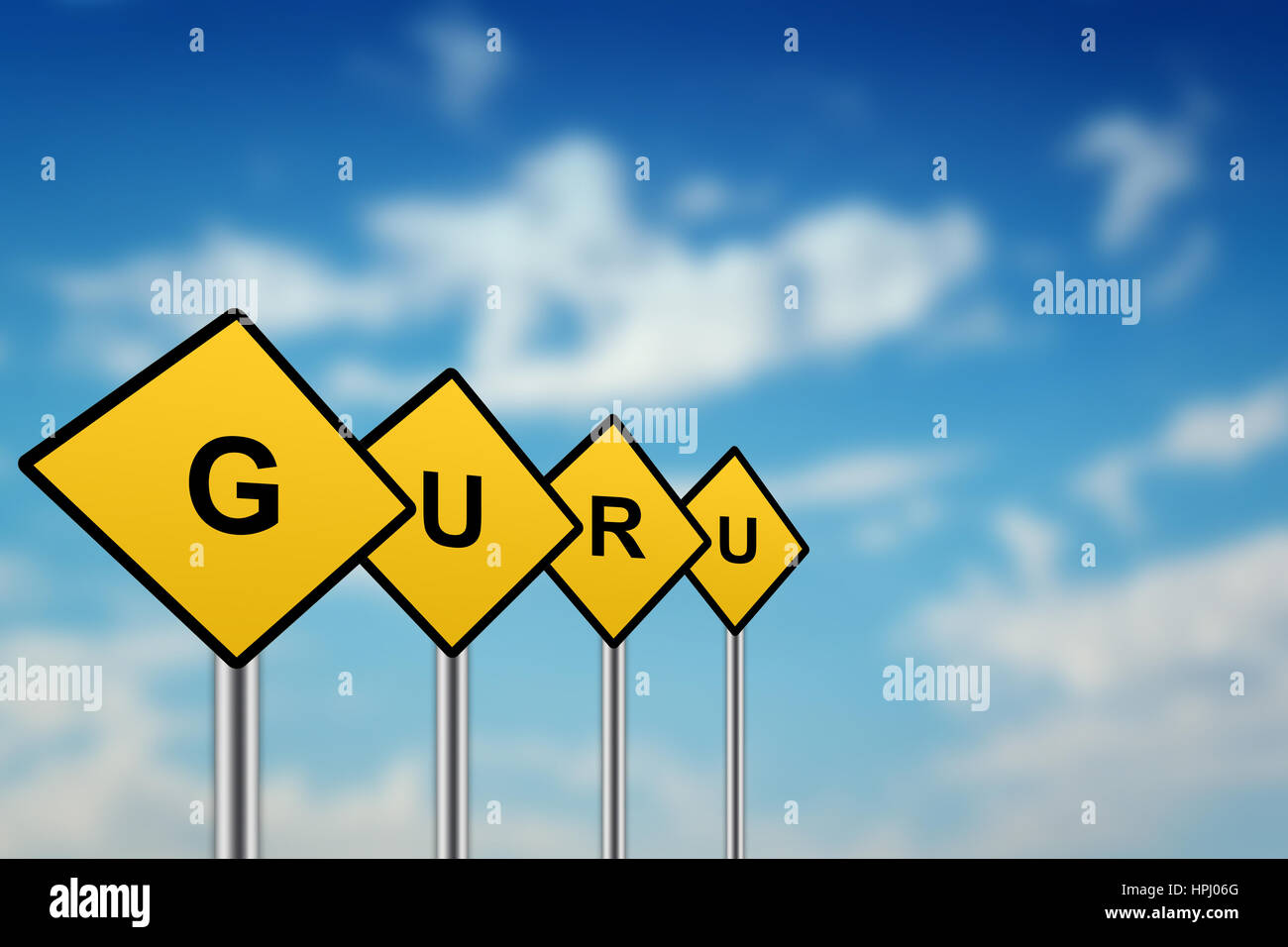 guru on yellow road sign with blurred sky background - Stock Image