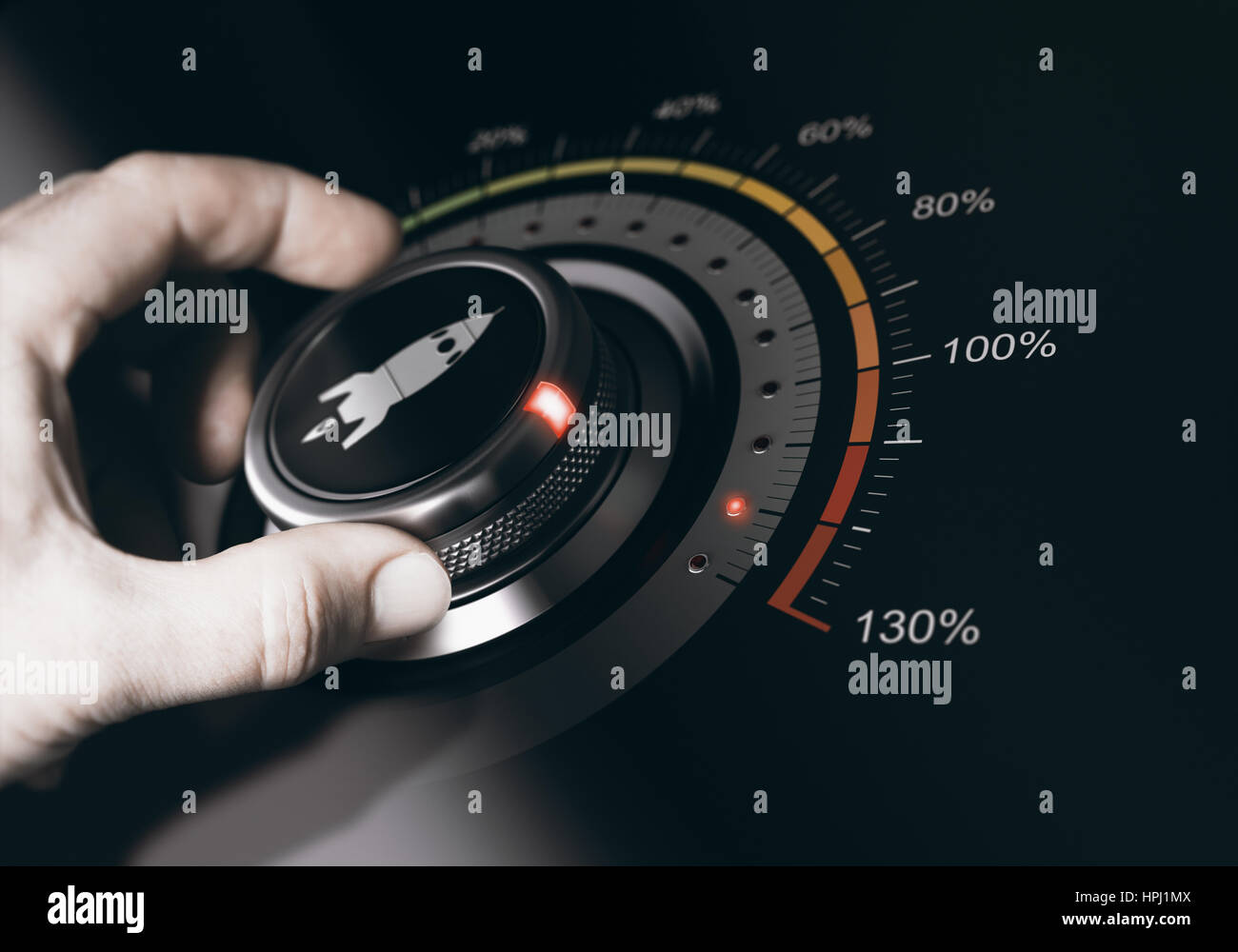 Hand turning a button with a rocket icon to the maximum acceleration. Concept of career accelerationComposite between - Stock Image