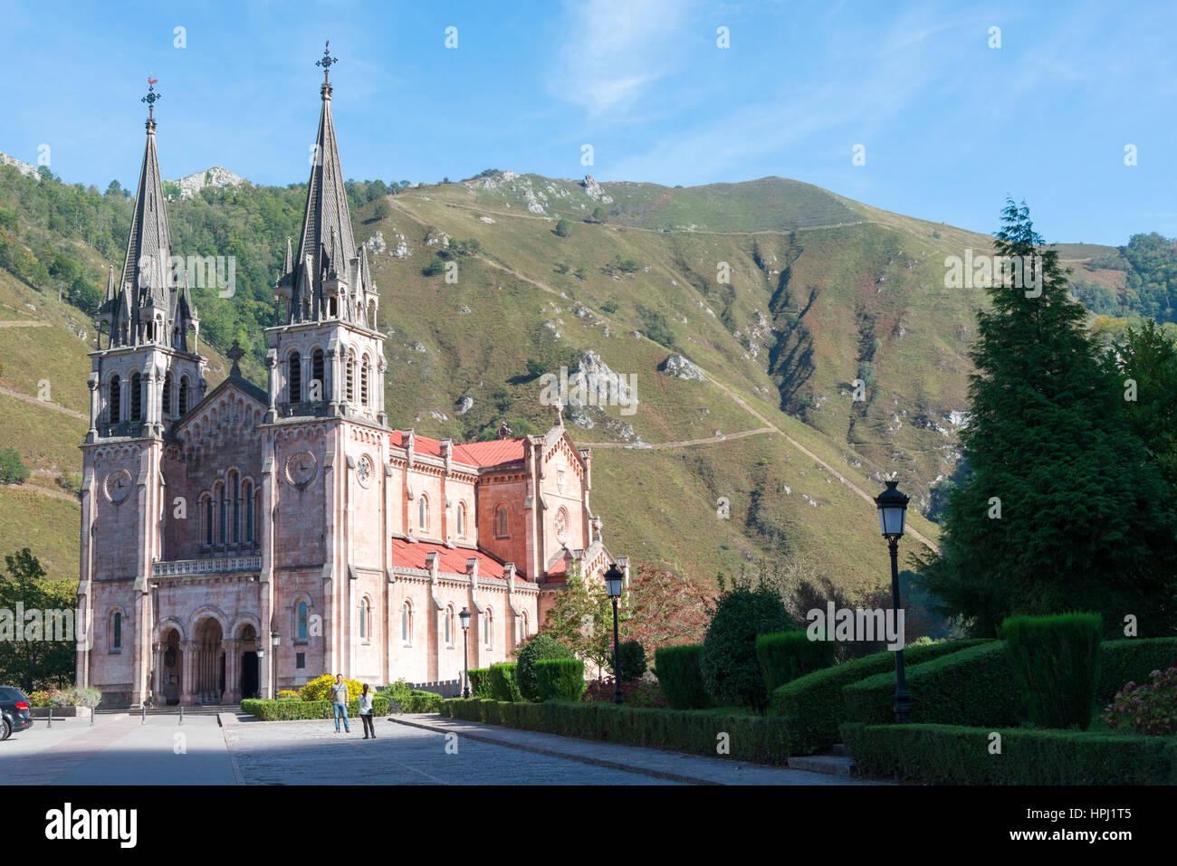 The Sanctuary of Covadonga or the Santa Cueva de Covadonga a Catholic sanctuary located in Asturias, northern Spain - Stock Image