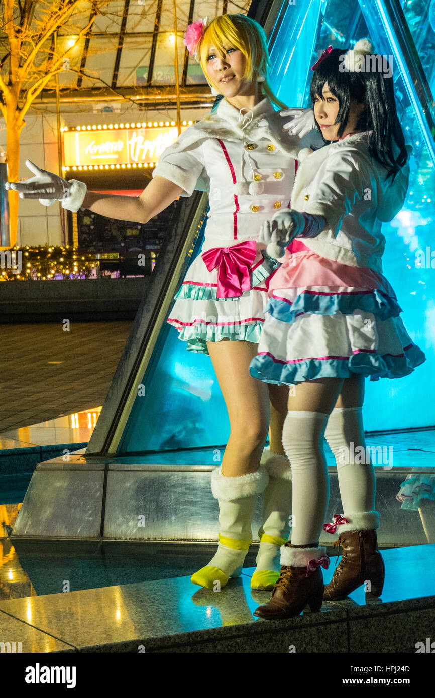 Two female Japanese models in cosplay costumes - Stock Image