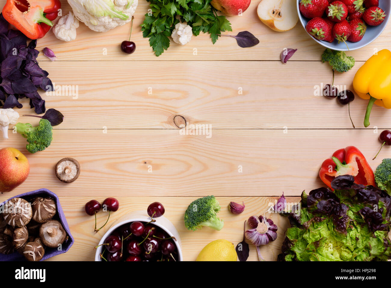 Vegetable and fruit food background. Organic healthy ...